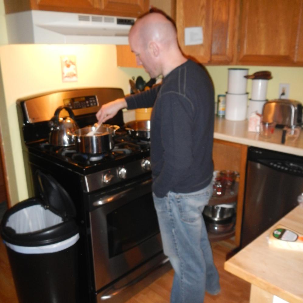 slaving away over a stove