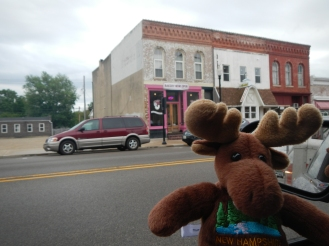 NH Moose outside the Nuts 4 Donuts Shop