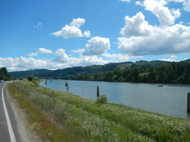 Columbia river on one side and Willamette on the other