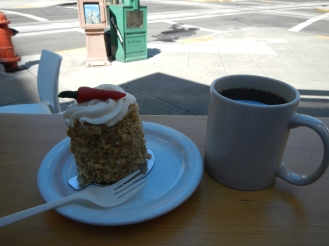 coffee and carrot cake from Lovejoy